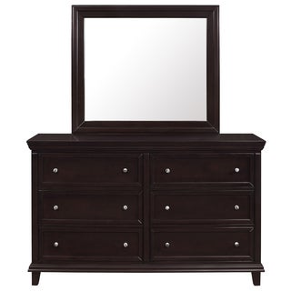 Highland Brown 6-drawer Contemporary Dresser with Mirror
