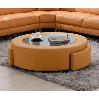 Best Quality Furniture Leather Upholstered 2-drawer Ottoman Coffee Table