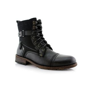 Polar Fox Asher MPX808585 Men's Combat Boots With Dual Lace-up Dual Tones and Textures For Everyday Wear