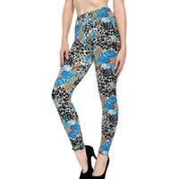 Women's Printed Full Length Stretchy Leggings - Blue Flower
