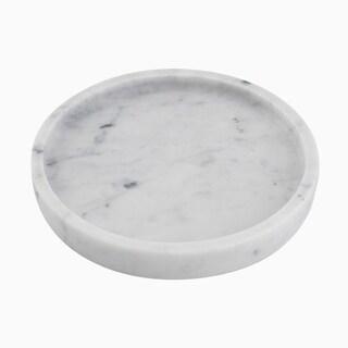Maykke Cobi Round Display Plate, Carrara White Marble