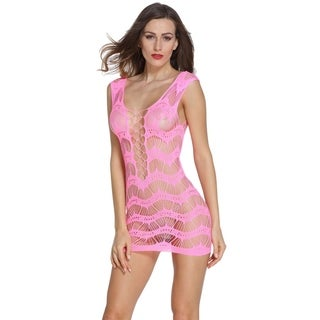 Sexly Crocheted Lace Hollow-out Chemise Dress (Option: Yellow)