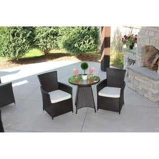 Clay Alder Home Greenville 3 Piece Outdoor Bistro Dining Set Brown Rattan Wicker-Cushions Included