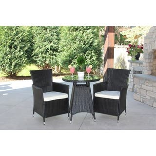 3pc Outdoor Black Wicker Bistro Dining Set Cushions Included w/ Chairs|https://ak1.ostkcdn.com/images/products/18222846/P24364074.jpg?impolicy=medium