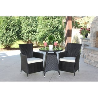 3 Piece Outdoor Bistro Dining Set Black Rattan Wicker--Cushions Included