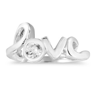 Cute Cursive LOVE with Sparkle Sterling Silver Ring (Thailand) (Option: Unique)