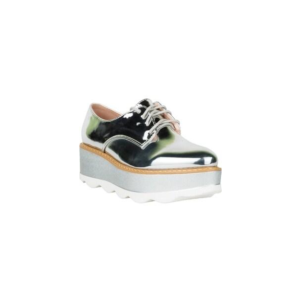Shop Xehar Womens Metallic Shiny Lace Up Platform Fashion Sneakers ... 26845eac177b