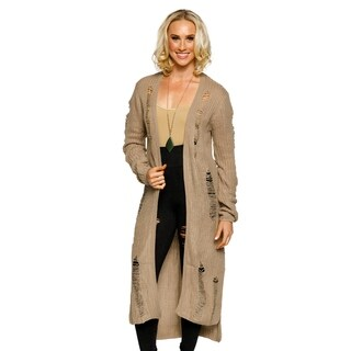 Xehar Womens Fashion Distressed Side Slit Hi-Lo Long Cardigan Sweater