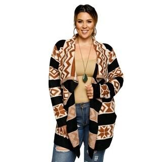 Xehar Womens Plus Size Stripe Mixed Print Open Front Cardigan Sweater