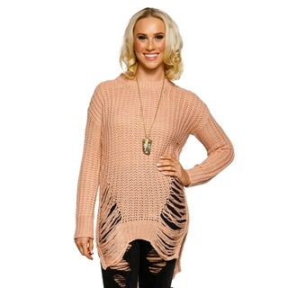 Xehar Womens Ribbed Knit Crewneck Distressed Pullover Tunic Sweater