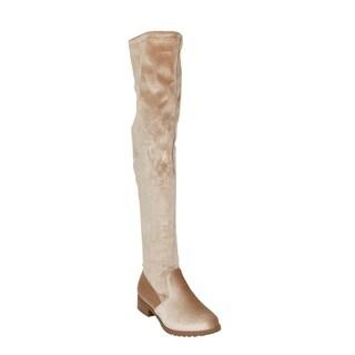 Xehar Womens Velvet Loafer Over The Knee Side Zip Short Heel Boots