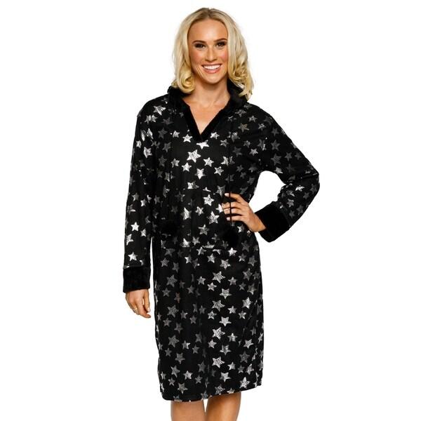 df46e72d9c Xehar Womens Metallic Star Print Hooded Nightshirt Pajama Sleepwear