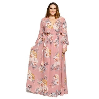 Xehar Womens Plus Size Sexy V-Neck Floral Long Sleeve Maxi Dress
