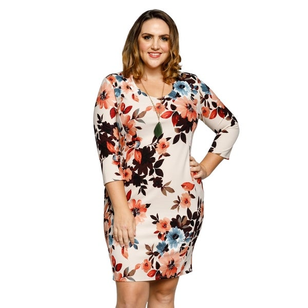 7ddf31b2ef37 Shop Xehar Womens Plus Size Scoop Neck 3 4 Sleeve Floral Bodycon ...