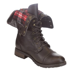 Refresh FN37 Women's Folded Cuff Back Zipper Block Heel Military Boots