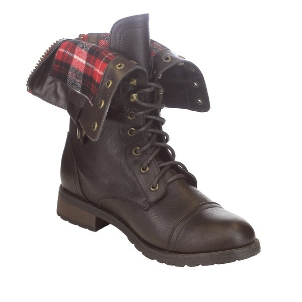FN37 Women's Folded Cuff Back Zipper Block Heel Combat Military Boots