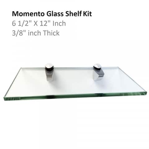 """Momento Glass Shelf Kit 6 1/2"""" X 12"""" with Chrome Brackets"""