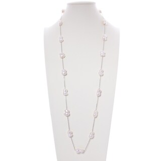 Freshwater Cultured Baroque Shape Pearl Silver Chain Necklace