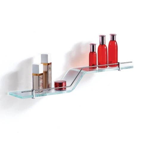 Stylish Clear Glass Shelf with Chrome Towel Bar