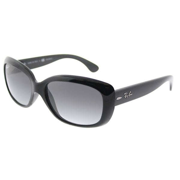 56e0836309a Ray-Ban Rectangle RB 4101 601 T3 Womens Shiny Black Frame Grey Gradient  Polarized