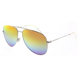 Saint Laurent Aviator SL Classic 11 Rainbow 006 Unisex Silver Frame Orange Mirror Lens Sunglasses