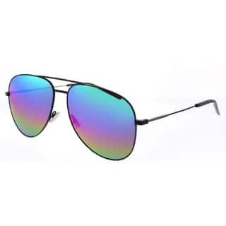 e84eb22359479 Saint Laurent Aviator SL Classic 11 Rainbow 007 Unisex Black Frame Green  Mirror Lens Sunglasses