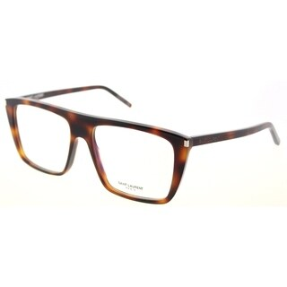 Saint Laurent Rectangle SL 155 002 Unisex Light Havana Brown Frame Eyeglasses