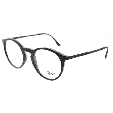 Ray-Ban Round RX 7132 2000 Unisex Shiny Black Frame Eyeglasses