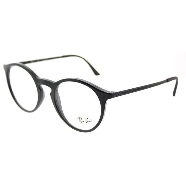 b2640fe016c Shop Ray-Ban Round RX 7132 2000 Unisex Shiny Black Frame Eyeglasses ...