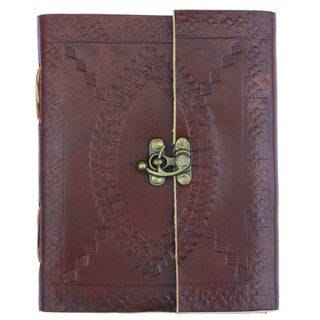 Embossed leather journal with medieval pirate notebook style privacy clasp