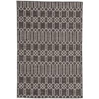 Nikki Chu Calcutta Dark Grey/Silver Indoor/Outdoor Geometric Area Rug (5'3 x 7'6)