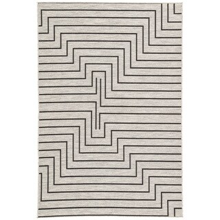 Nikki Chu by Jaipur Living Xantho Silver/Black Geometric Indoor/Outdoor Area Rug (5'3 x 7'6)