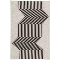 Nikki Chu Minya Geometric Silvertone/Black Indoor/Outdoor Area Rug (5'3 x 7'6)