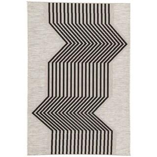 Jaipur Living Nikki Chu Minya Geometric Silvertone/Black Indoor/Outdoor Area Rug (5'3 x 7'6)