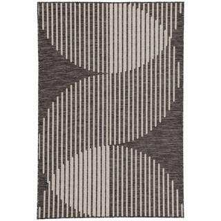 Jaipur Living Nikki Chu Tangra Geometric Dark Gray/Silvertone Indoor/Outdoor Area Rug (5'3 x 7'6)