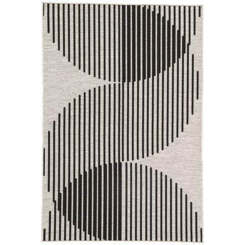 Nikki Chu Tangra Silver/Black Indoor/Outdoor Geometric Area Rug (5'3 x 7'6)