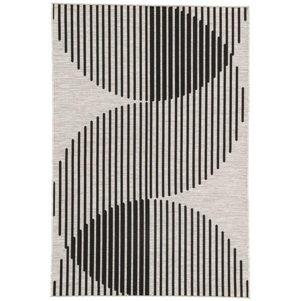 d03be0223a Shop Nikki Chu Tangra Silver/Black Indoor/Outdoor Geometric Area Rug ...