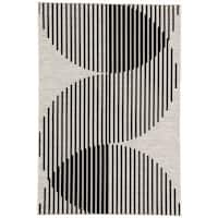"Nikki Chu Tangra Silver/Black Indoor/Outdoor Geometric Area Rug (5'3 x 7'6) - 5'3""x7'6"""