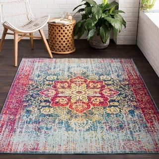 Zenfruitio Pink Classic Distressed Area Rug (2' x 3')