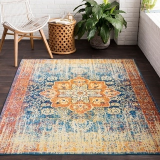 Zenfruitio Yellow Classic Distressed Area Rug (2' x 3')