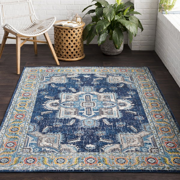 Vapouria Blue Classic Traditional Area Rug (2' x 3')