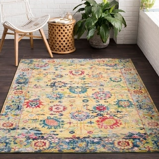 Viviendue Yellow Traditional Distressed Area Rug - 2' x 3'