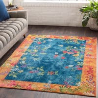 Hamon Multicolor Border Traditional Area Rug - 2' x 3'