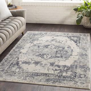 "Sonam Grey Oriental Distressed Area Rug (5'3 x 7'6) - 5'3"" x 7'6"""
