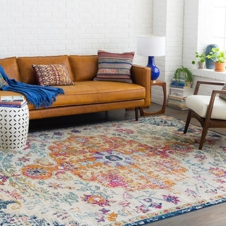 Georgian Persian Traditional Oriental Cream/Saffron Area Rug - 6'7 x 9'