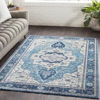 Ikaika Oriental Traditional Blue Area Rug - 7'10 x 10'3