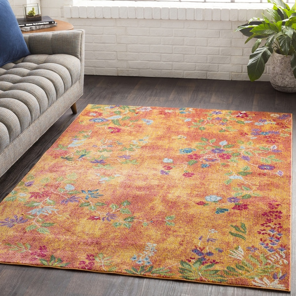 Shop Hamon Floral Orange Border Traditional Area Rug 7
