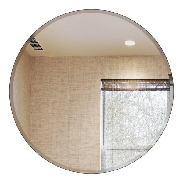 Round Beveled Polished Frameless Wall Mirror with Hooks