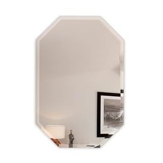Octagon Frameless Wall Mirror Beveled Polish with 3 Hooks
