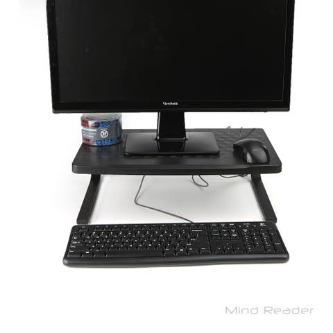 Mind Reader Extra Wide Metal Monitor Stand Computer Riser, Black